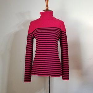 Liz Claiborne Top Sweater SZ L Red Black Striped